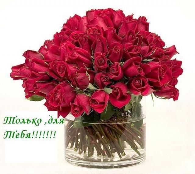 Открытки. С Днем рождения Красивая открытка с розами только для тебя